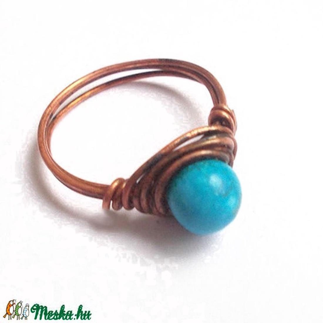 Türkinit és vörös réz gyűrű (colorosa) - Meska.hu 5abb91c115