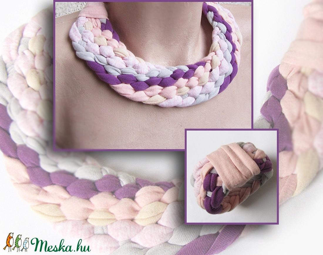 Lila-rózsaszín textil ékszerszett - ékszer - ékszerszett - Meska.hu