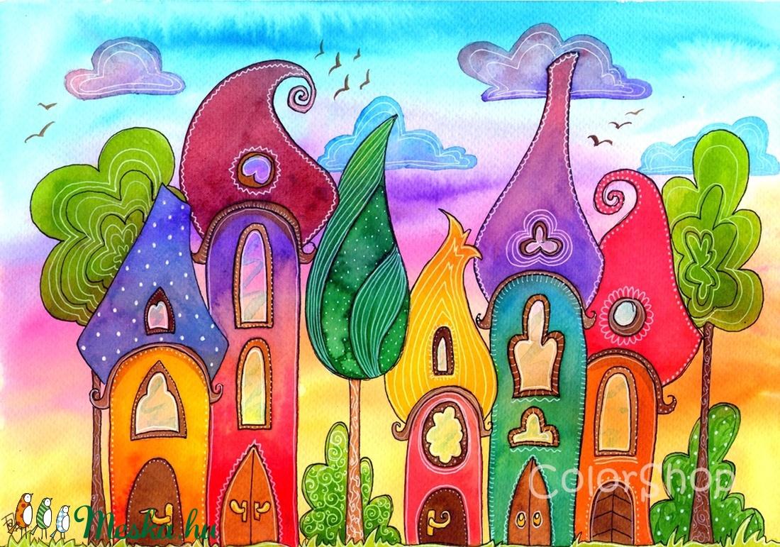Szivárványváros naplementében (05) - eredeti akvarell A4 (colorshop) - Meska.hu