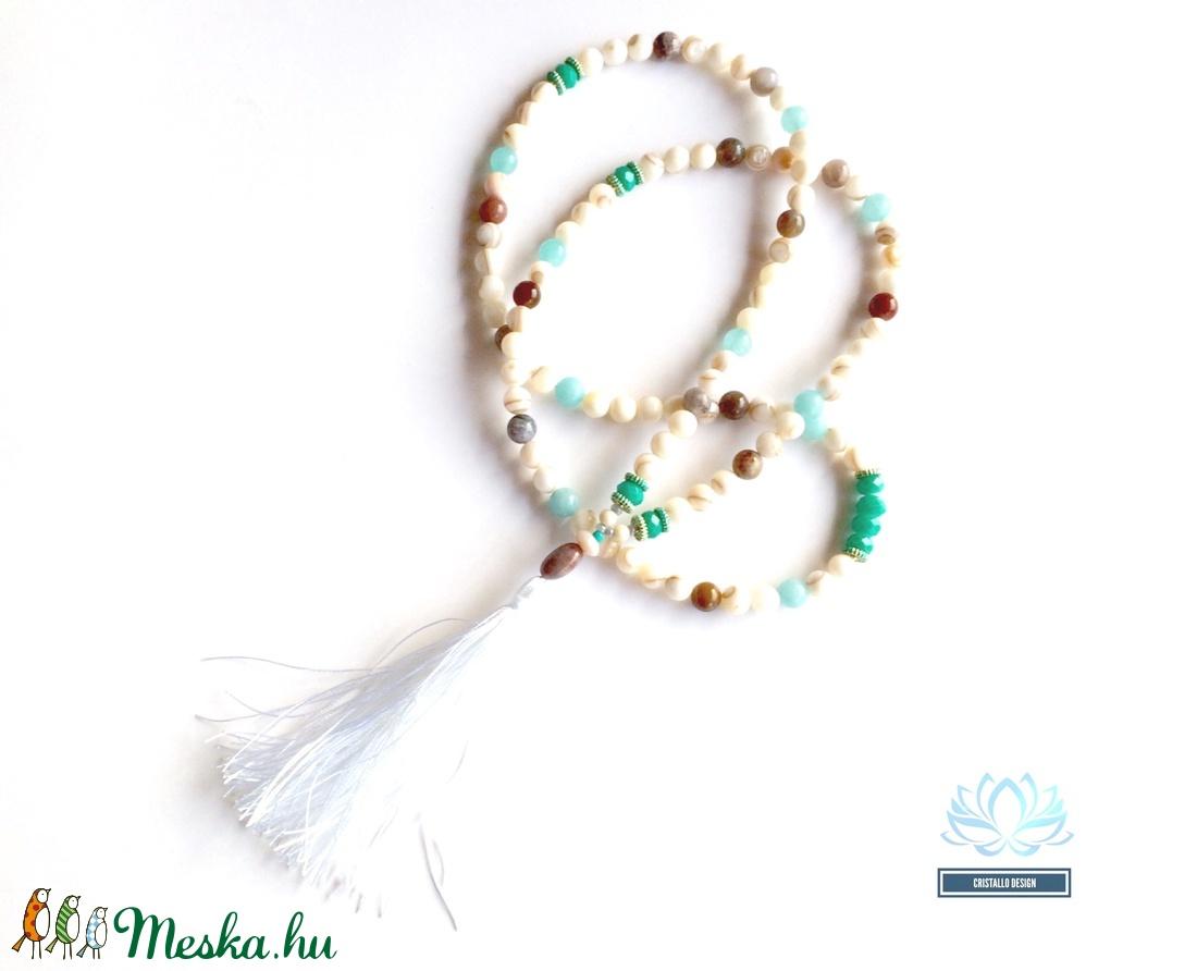 Energy fehér kagylógyöngy 108 szemes Mala nyaklánc (Cristallodesign) -  Meska.hu 83a8fc3bd7