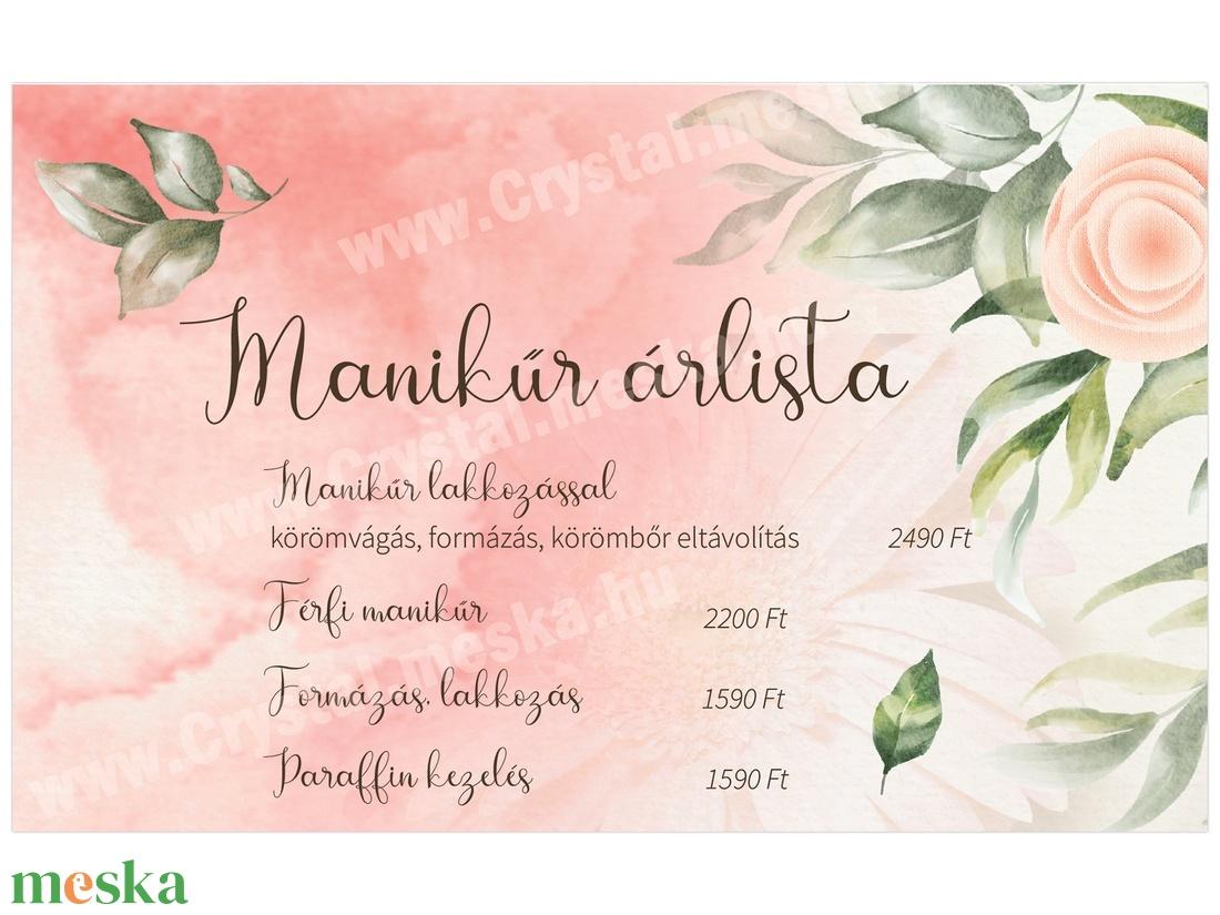 Virágos Manikűr Árlista, Műkörmös Árlista, Egyedi tervezés, Egyedi digitális szerkesztés,  - otthon & lakás - papír írószer - egyedi szerkesztés - Meska.hu