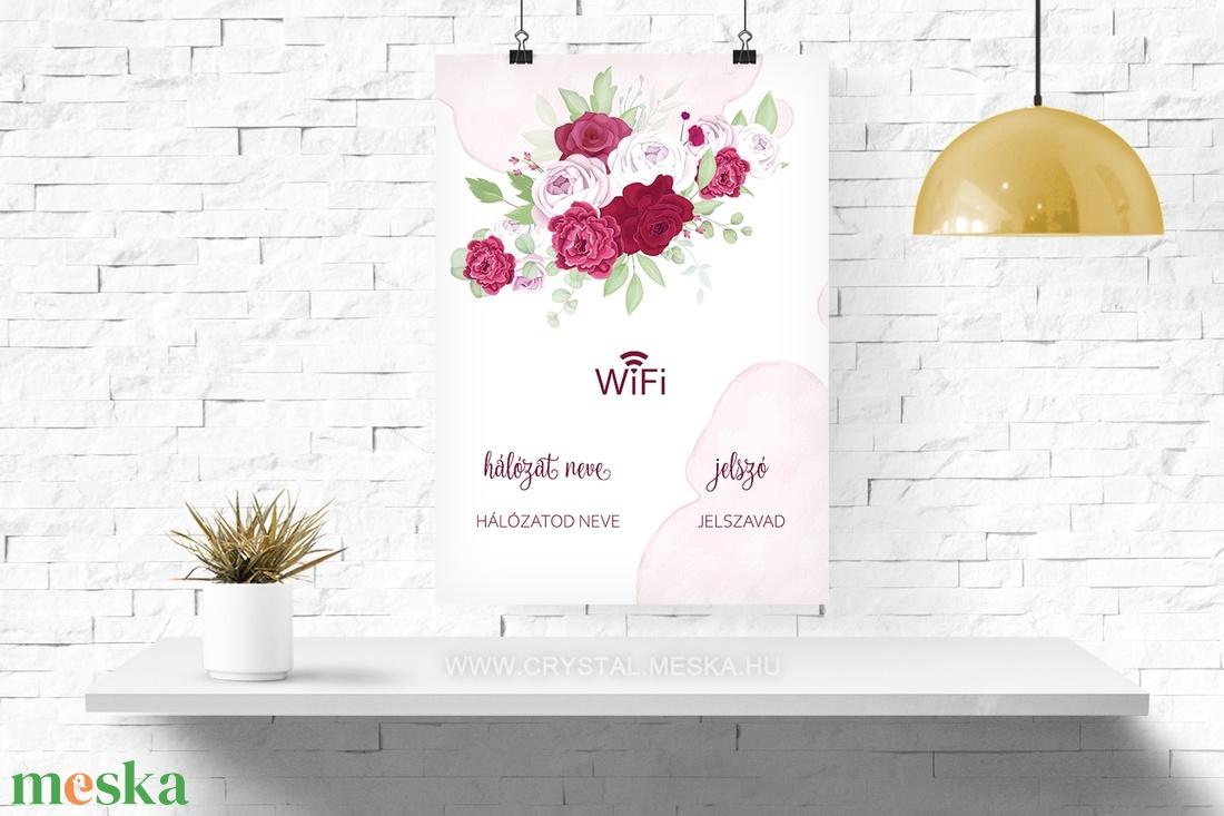Információs poszter design, Wifi Poszter, Virágos wi-fi poszter, Digitális Poszter Design, A4 JPG PDF poszter - művészet - grafika & illusztráció - Meska.hu