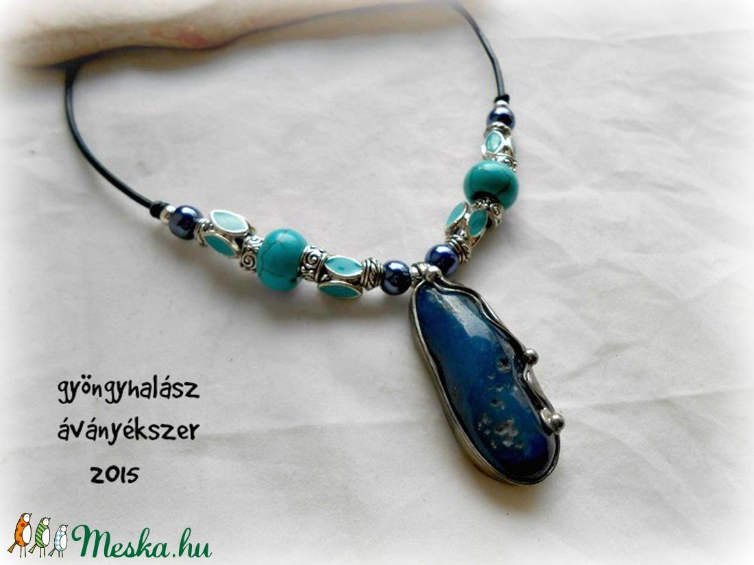 kék ahát türkiz,kerámia bőr nyakék ,ásvány nyaklánc - Meska.hu
