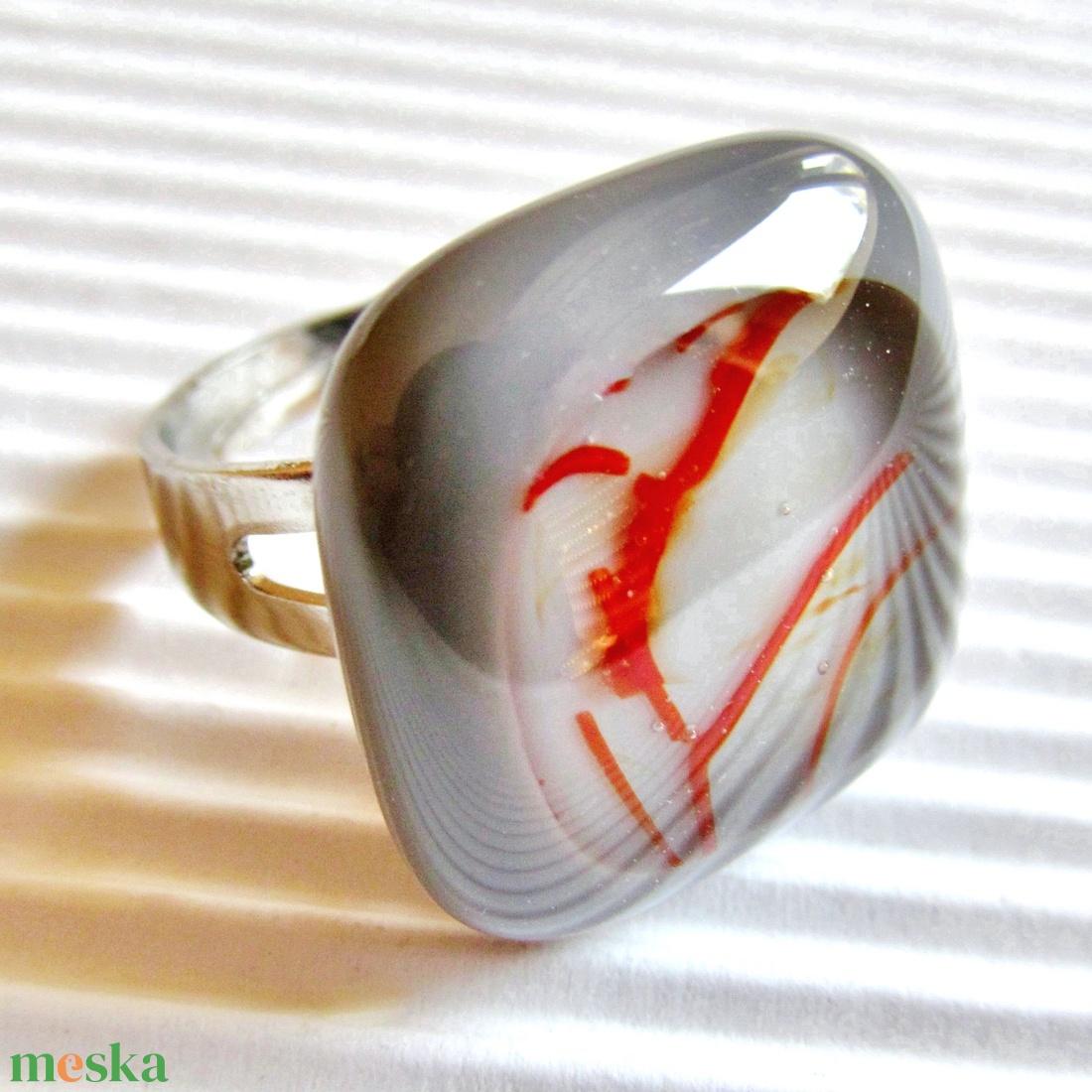 Galambszürke csillaghullás üveg gyűrű, üvegékszer - ékszer - gyűrű - statement gyűrű - Meska.hu