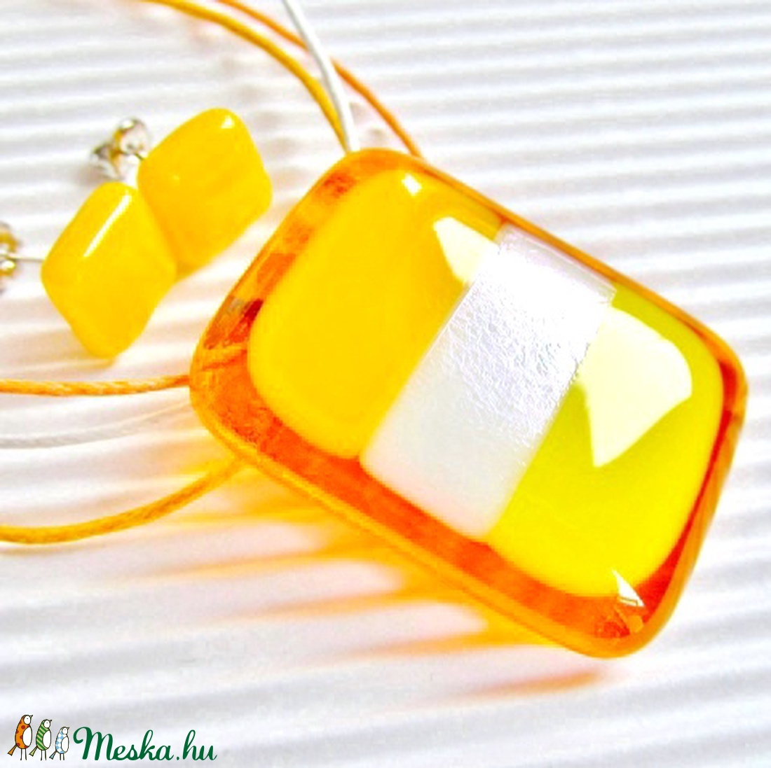 Mézédes napsugár üveg medál és fülbevaló, NEMESACÉL, üvegékszer szett - ékszer - ékszerszett - Meska.hu