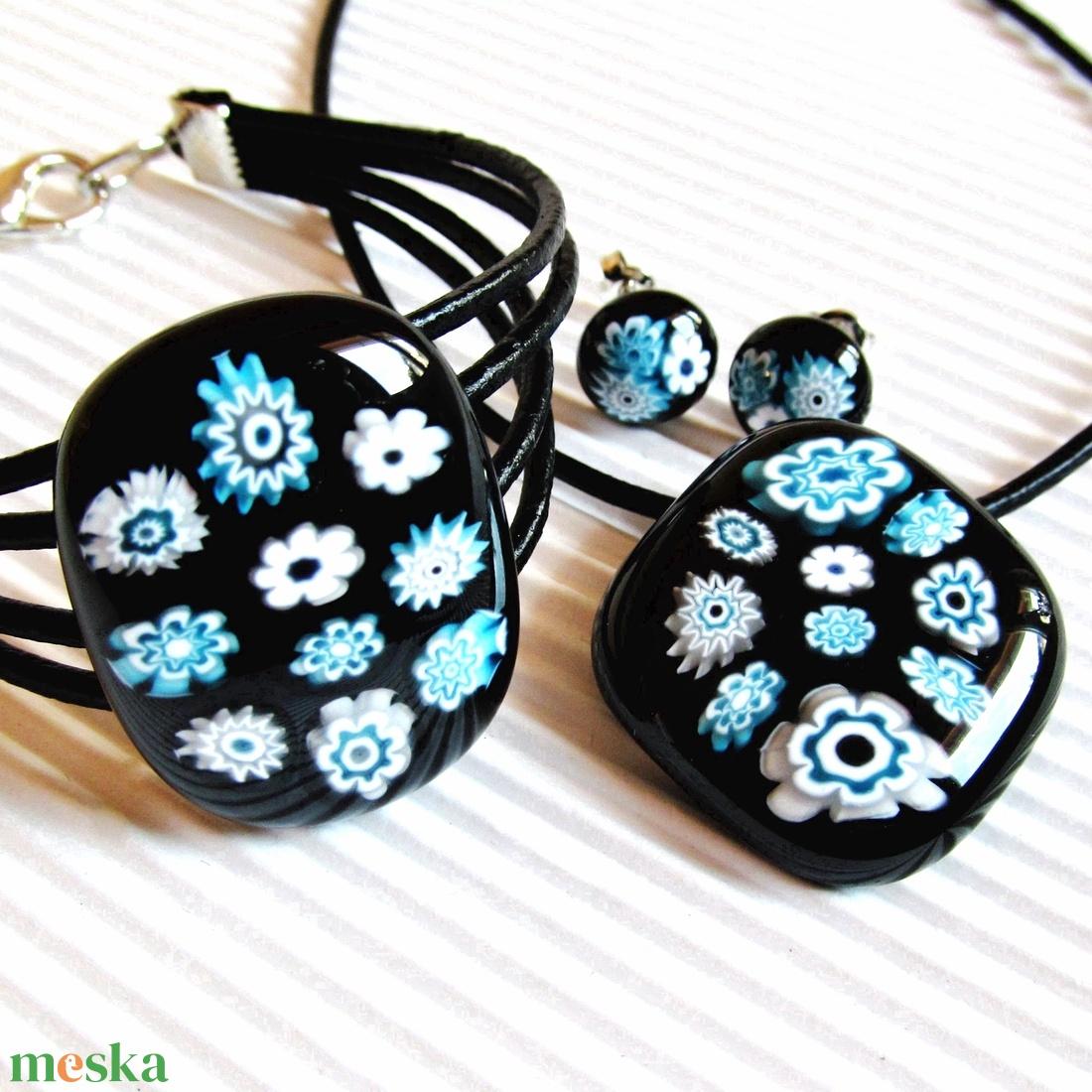 Fekete-türkiz virágfolyó üveg medál és fülbevaló, NEMESACÉL, millefiori, üvegékszer szett - ékszer - ékszerszett - Meska.hu