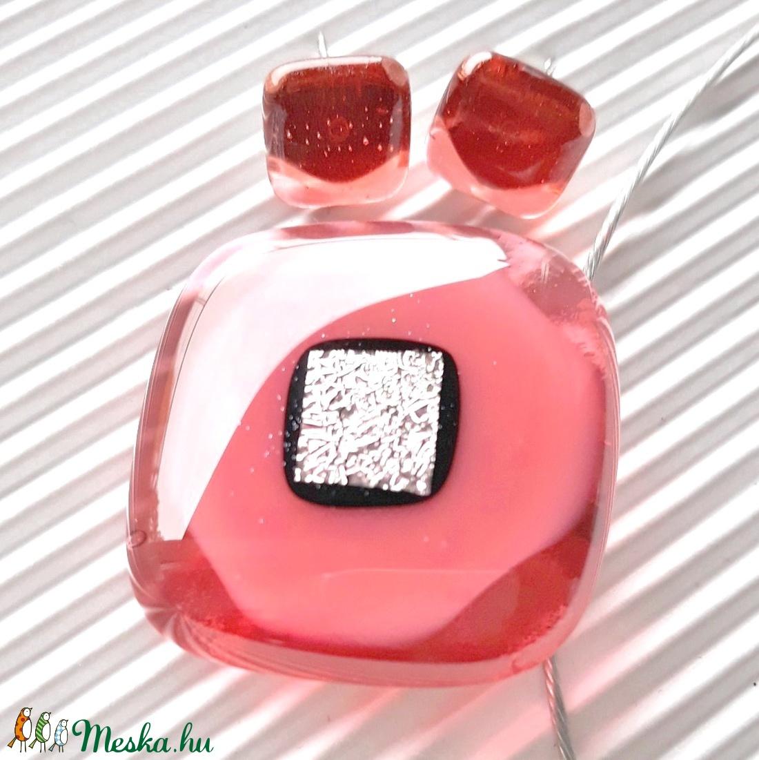 AKCIÓ - Csillámló lazacrózsa üveg medál és fülbevaló, üvegékszer szett - ékszer - ékszerszett - Meska.hu