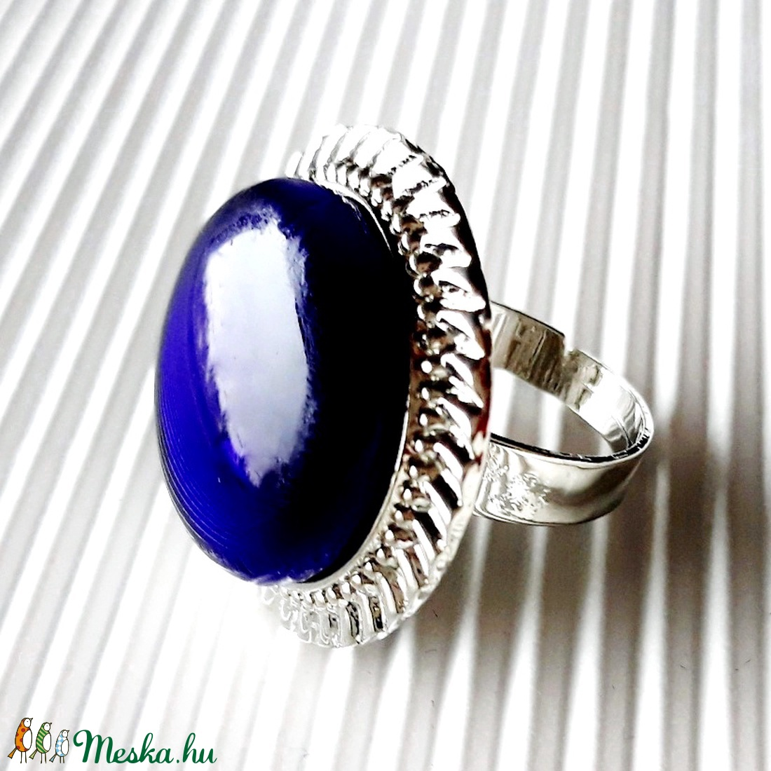 50 % AKCIÓ! - Ezüstös királykék üveg maxi gyűrű, üvegékszer - ékszer - gyűrű - statement gyűrű - Meska.hu