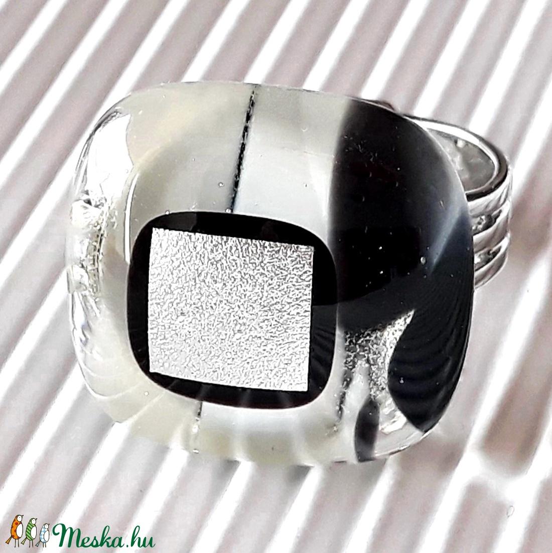Holdfény üveg gyűrű, üvegékszer - ékszer - gyűrű - statement gyűrű - Meska.hu