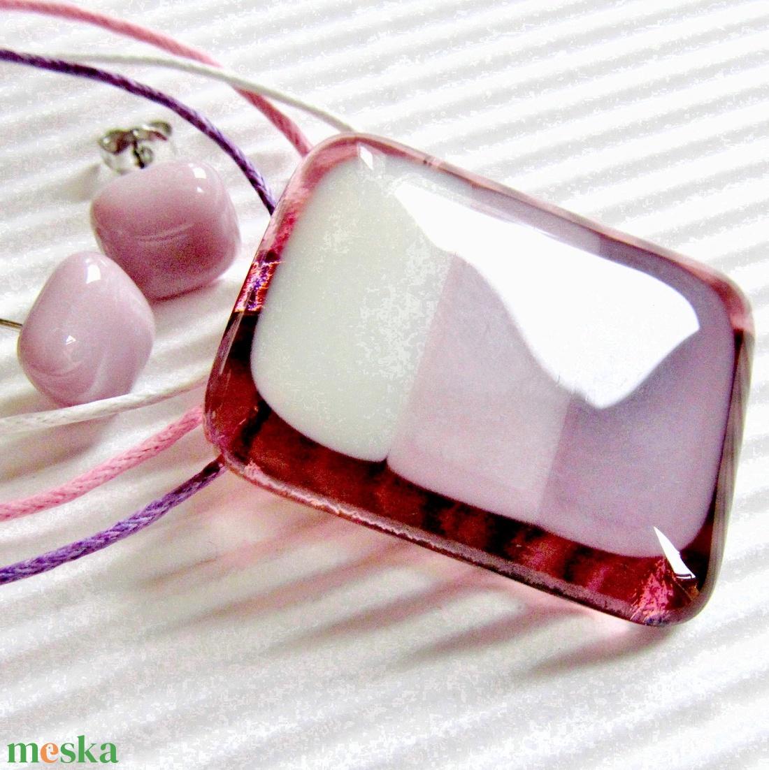Pillecukor üveg nyaklánc és fülbevaló, NEMESACÉL/ORVOSI FÉM, nyaklánc, üvegékszer szett - ékszer - ékszerszett - Meska.hu