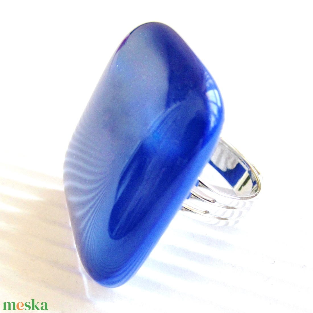 Királykék üveg maxi gyűrű, üvegékszer - ékszer - gyűrű - statement gyűrű - Meska.hu