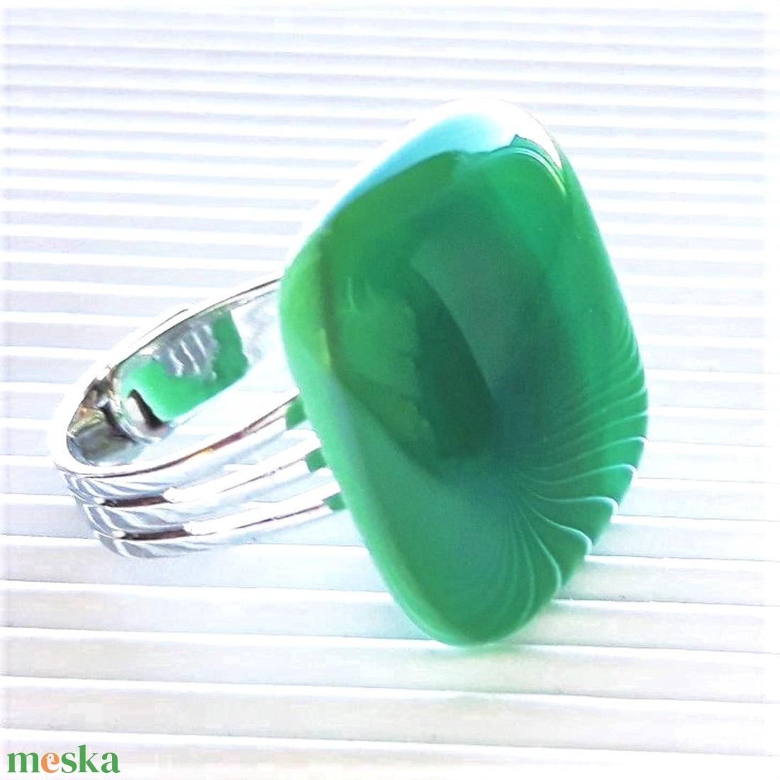 Dupla menta üveg gyűrű, üvegékszer - ékszer - gyűrű - statement gyűrű - Meska.hu