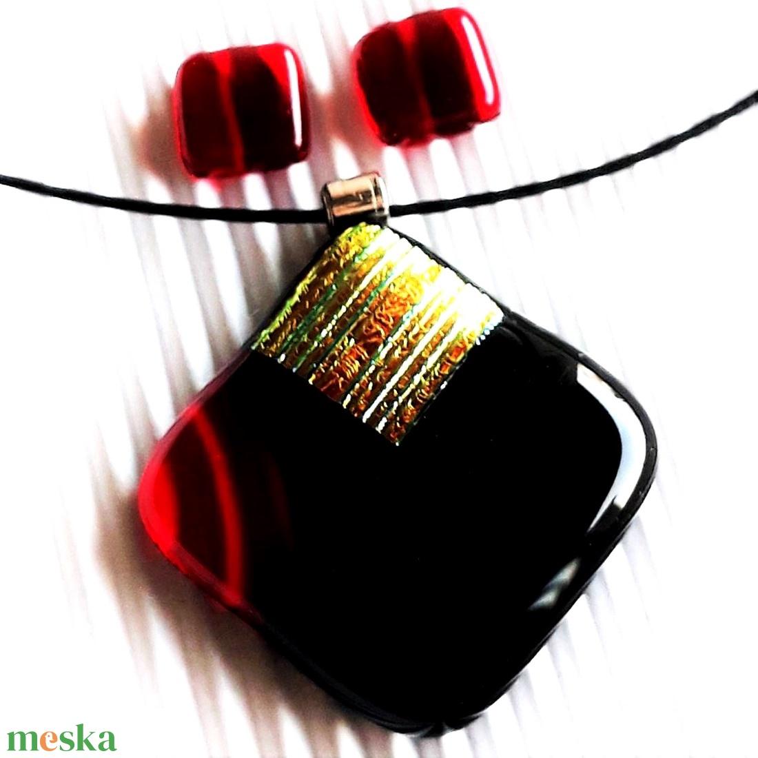 Arany fényű meggy-fekete tulipánbimbó mozaik üveg medál és fülbevaló NEMESACÉL alapokon, üvegékszer szett  - ékszer - ékszerszett - Meska.hu