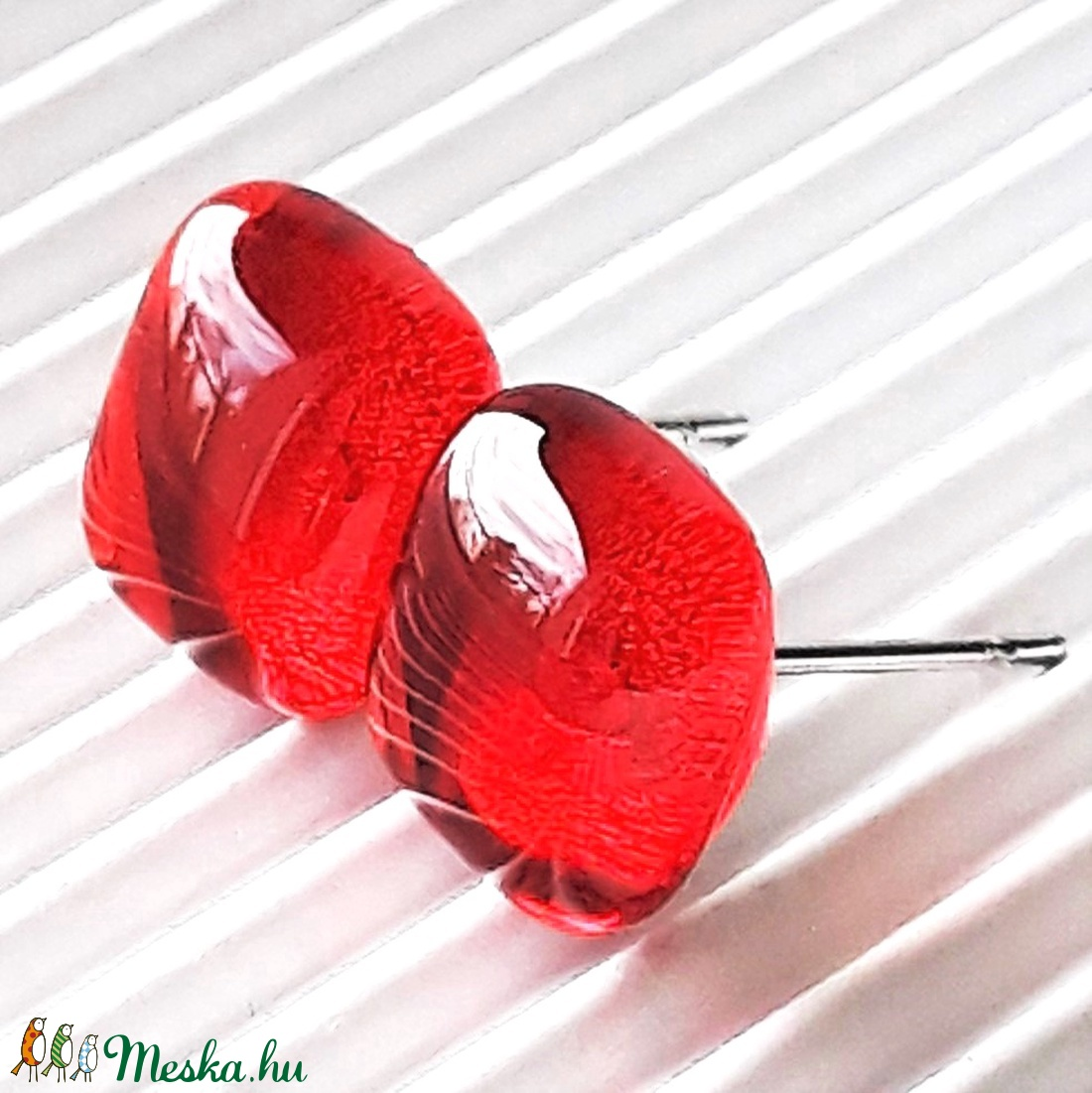 Orvosi fém alapon Narancsdzsem kocka üveg fülbevaló, üvegékszer - ékszer - fülbevaló - pötty fülbevaló - Meska.hu