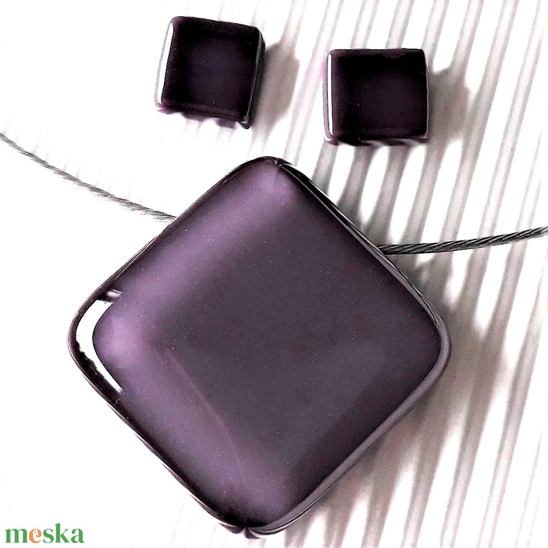 Orgonalila üveg kocka medál és fülbevaló NEMESACÉL, üvegékszer szett - ékszer - ékszerszett - Meska.hu