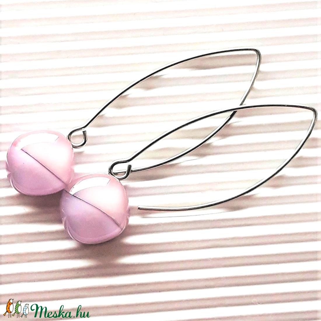 Pasztell szonáta üveg rombusz fülbevaló orvosi fém hosszú, design akasztón, minimal üvegékszer - ékszer - fülbevaló - lógó fülbevaló - Meska.hu