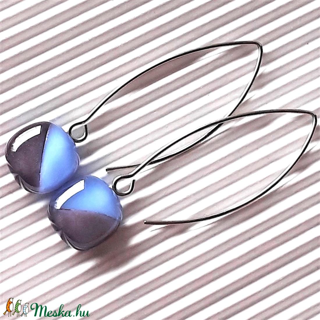 Orgona-levendula lógós kocka üveg fülbevaló orvosi fém hosszú design akasztón, üvegékszer - ékszer - fülbevaló - lógó fülbevaló - Meska.hu