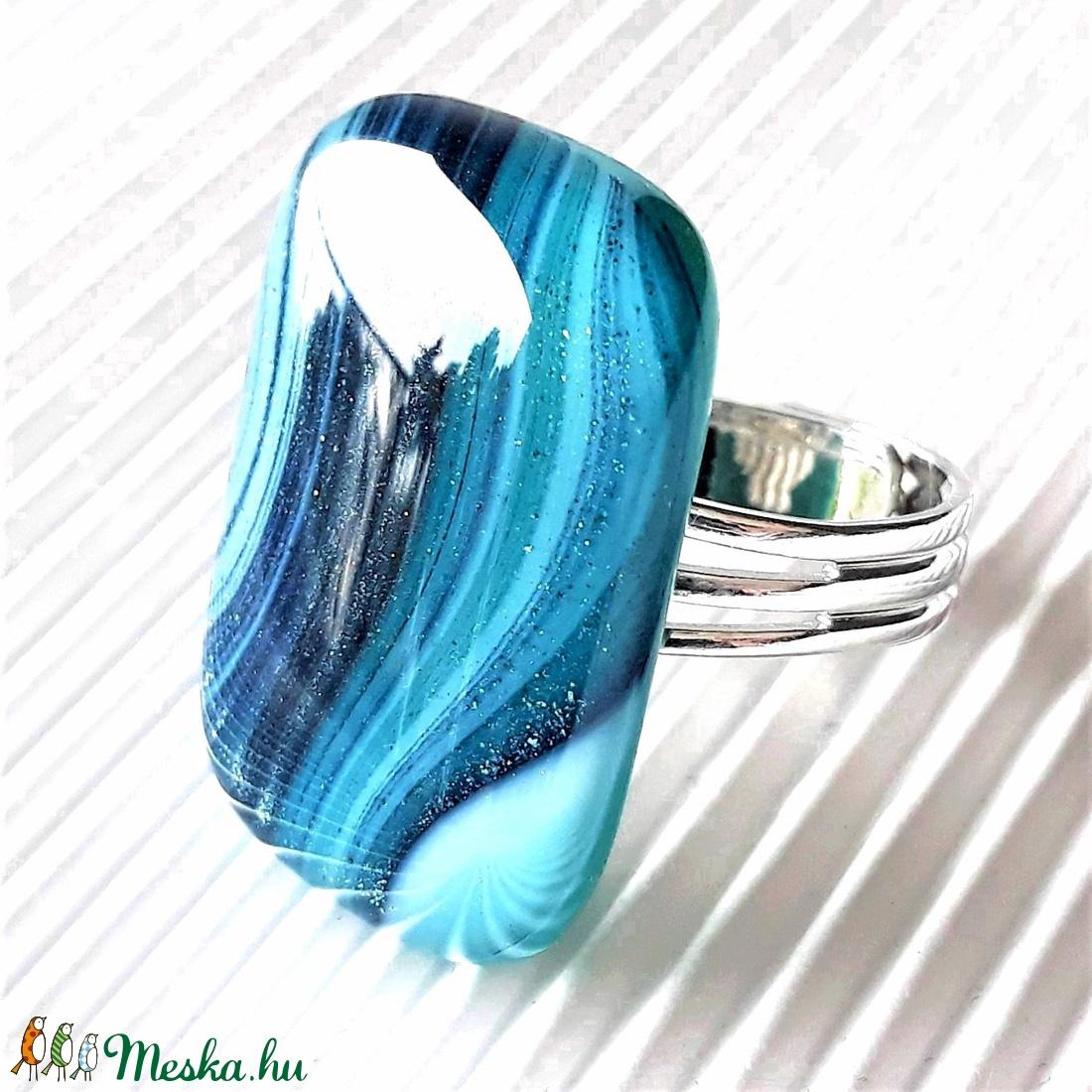 Smaragd - kék selyemcsillám elegáns üveg gyűrű, minimal üvegékszer - ékszer - gyűrű - statement gyűrű - Meska.hu