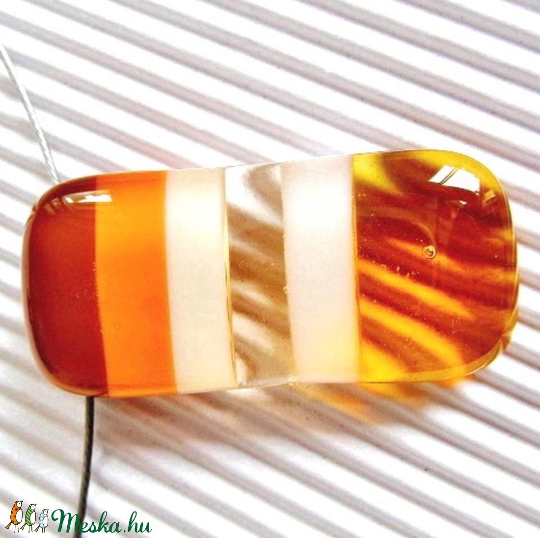 Mézes karamella üveg medál, NEMESACÉL, üvegékszer - ékszer - nyaklánc - medálos nyaklánc - Meska.hu