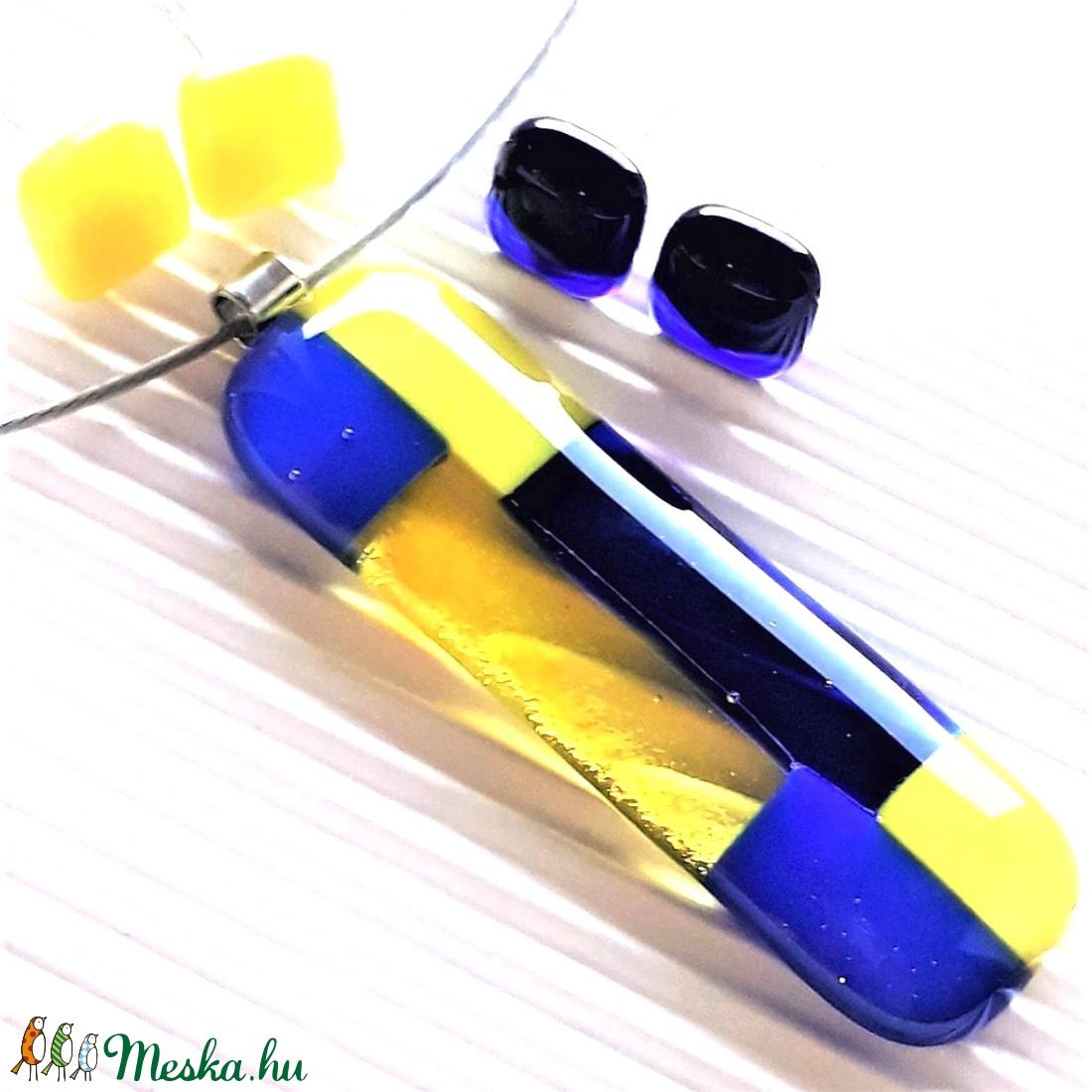Fiola királykék-citromsárgában üveg medál és 2 pár fülbevaló, NEMESACÉL/ORVOSI FÉM, üvegékszer SZETT - ékszer - ékszerszett - Meska.hu