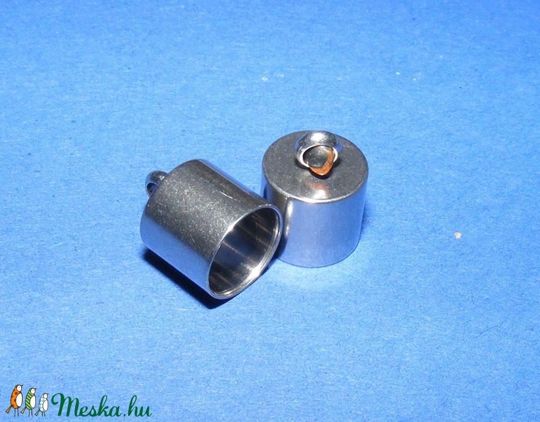Nemesacél bőrvég (STAS-7 minta/1 db) - 12x9 mm - gyöngy, ékszerkellék - Meska.hu