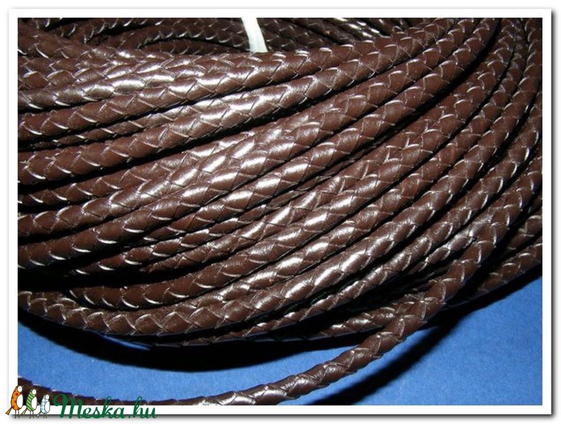 Fonott bőrszíj - 5 mm (1. minta/0,5 m) - sötétbarna - vegyes alapanyag - egyéb alapanyag - Meska.hu