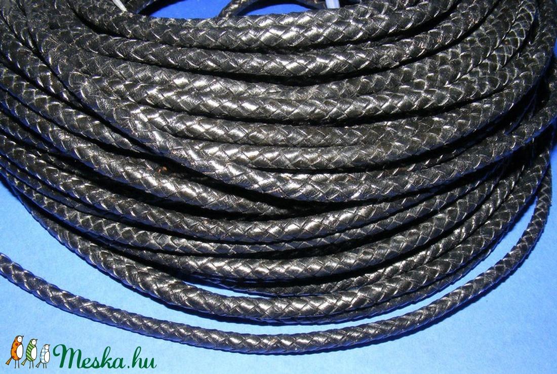 Fonott bőrszíj - 6 mm (4. minta/0,5 m) - fekete - vegyes alapanyag - egyéb alapanyag - Meska.hu