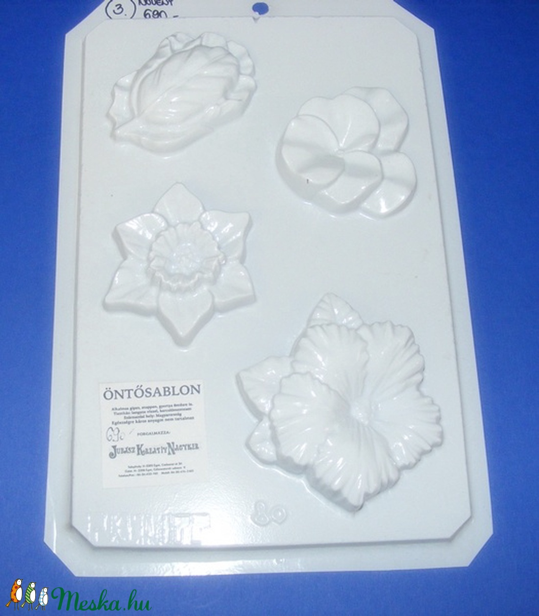 Növény-3 - gipszöntő forma (4 motívum) - virágok (csimbo) - Meska.hu