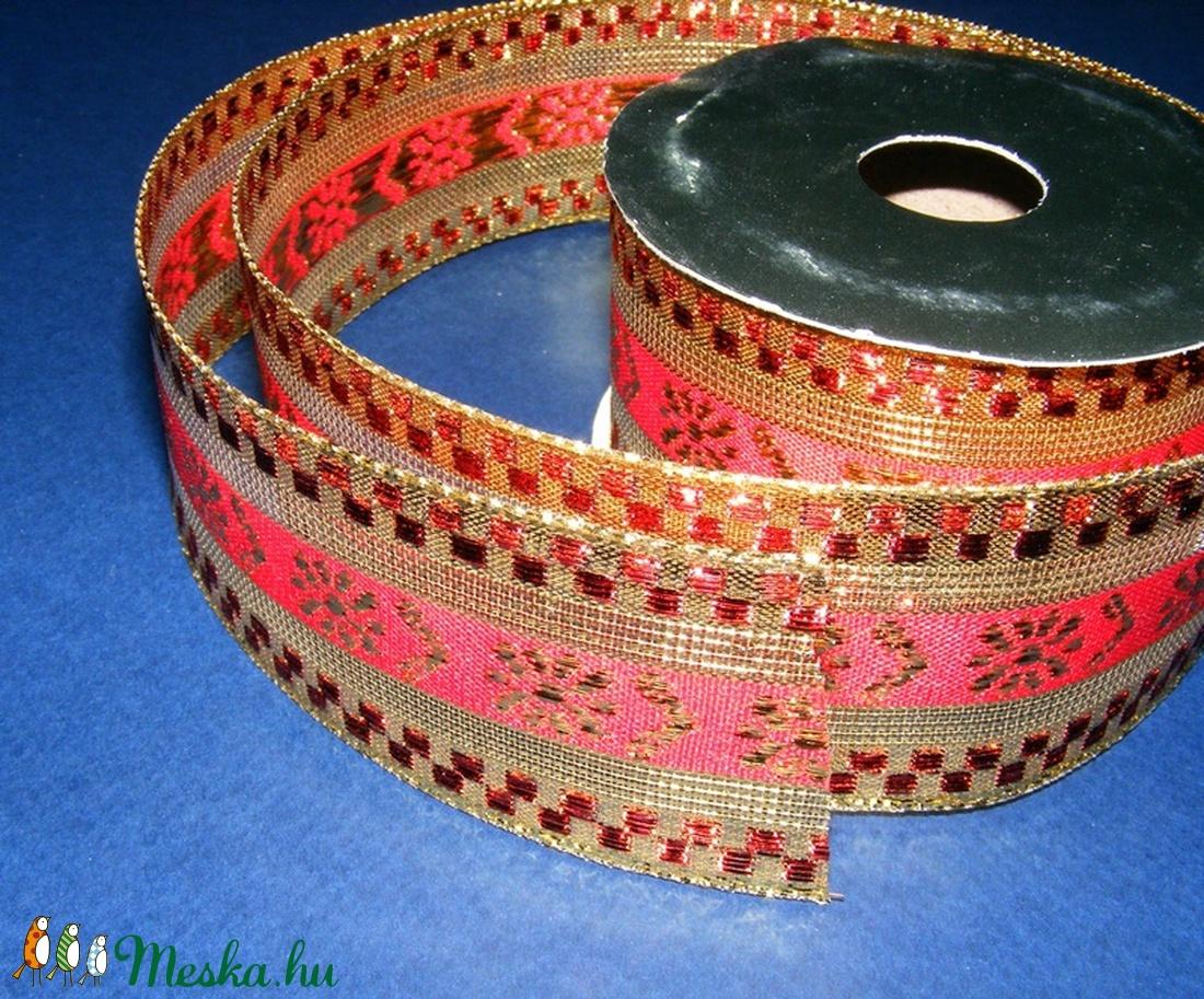 Szalag (86/A minta/1 m) - piros/arany karácsonyi (csimbo) - Meska.hu