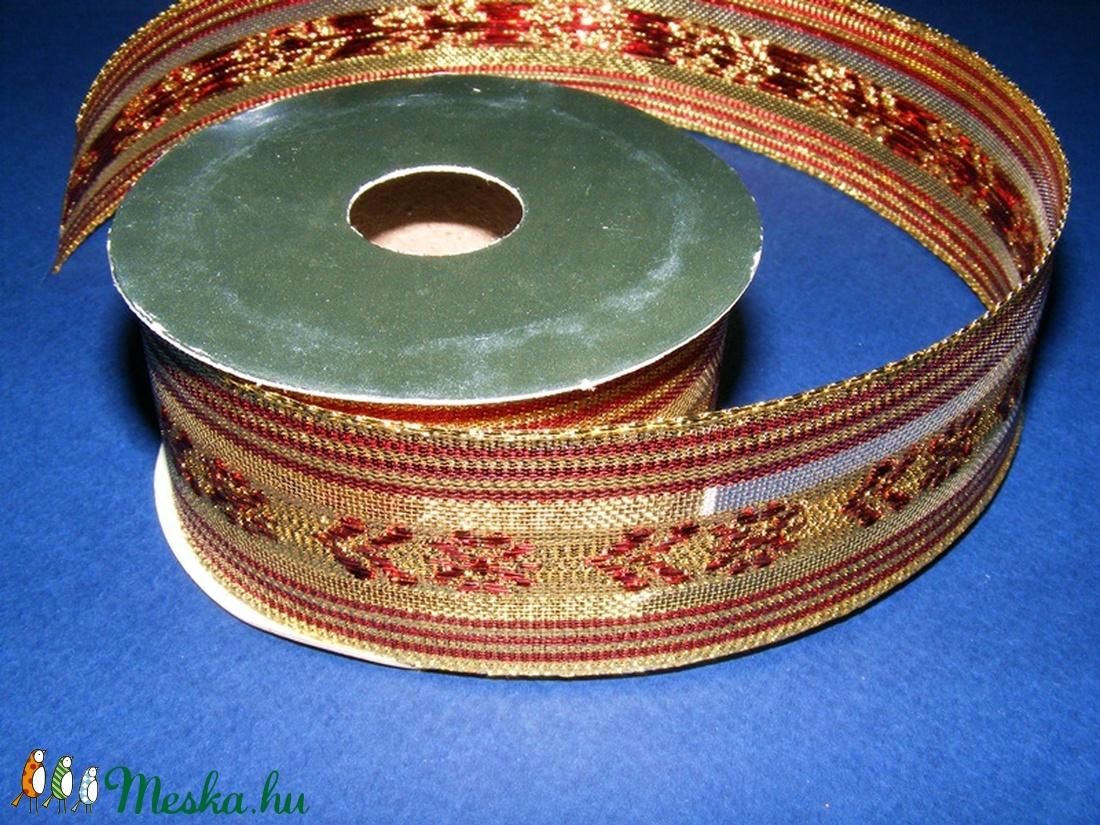 Szalag (87/A minta/1 m) - piros/arany karácsonyi (csimbo) - Meska.hu