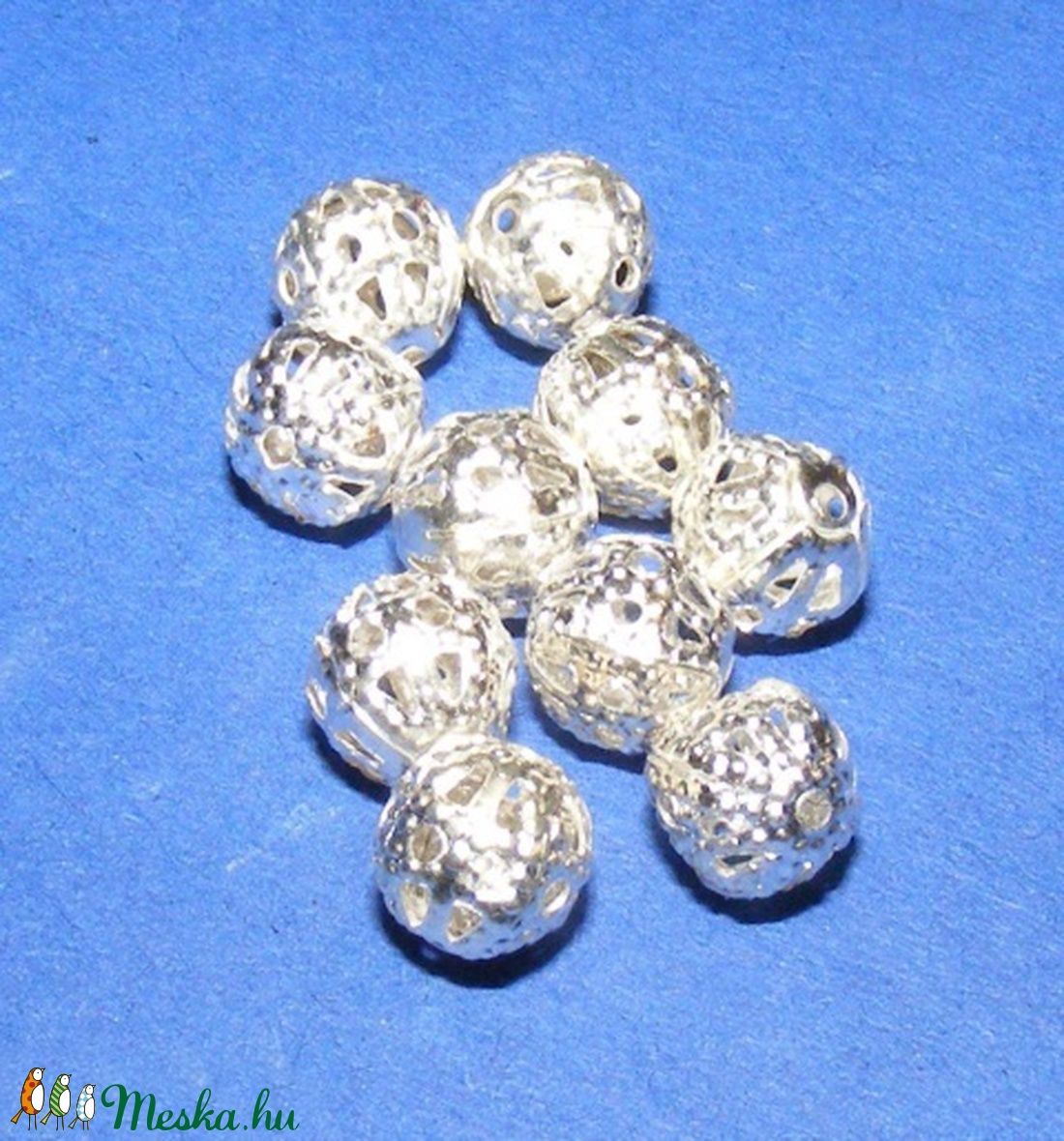 Díszes gömb (670. minta/10 db) - gyöngy, ékszerkellék - Meska.hu