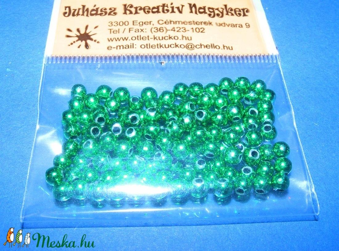 Műanyag gyöngy-24 (Ø 4 mm/100 db) - zöld gömb (csimbo) - Meska.hu