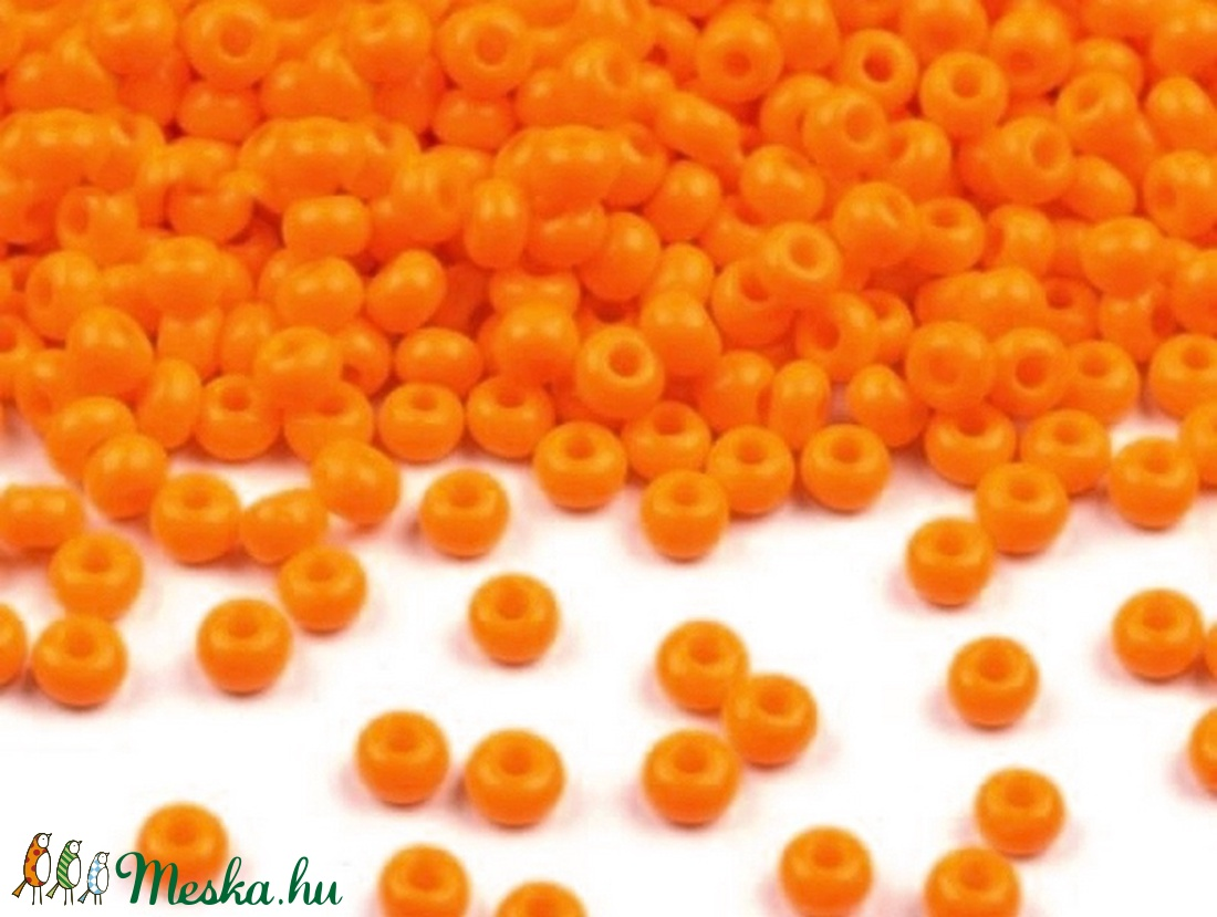 Cseh üveggyöngy-4 (2 mm/10 g) - opak narancssárga (csimbo) - Meska.hu
