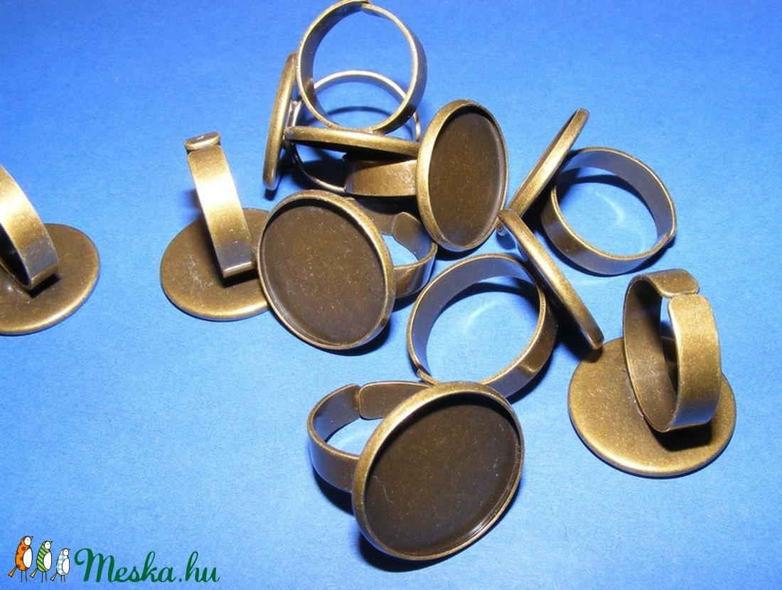 Gyűrű alap (63/AB minta/1 db) - antik bronz - gyöngy, ékszerkellék - Meska.hu