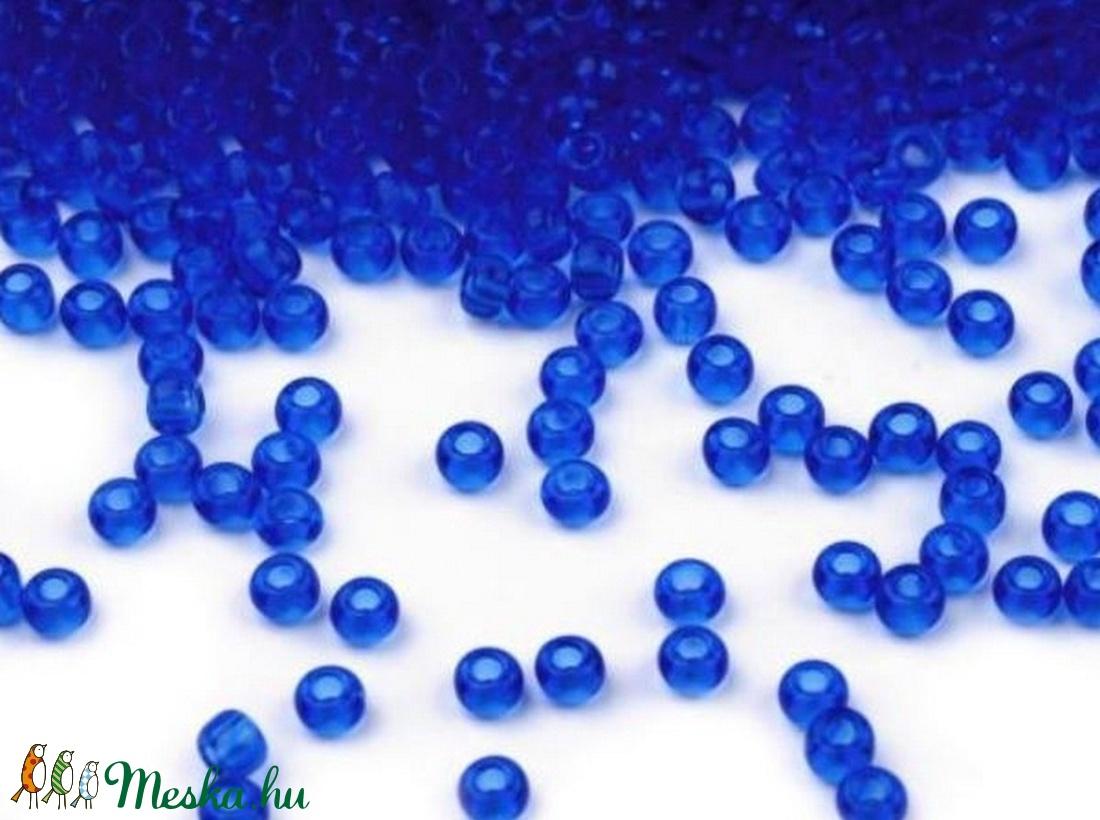 Cseh üveggyöngy-10 (3 mm/10 g) - átlátszó kobaltkék (csimbo) - Meska.hu