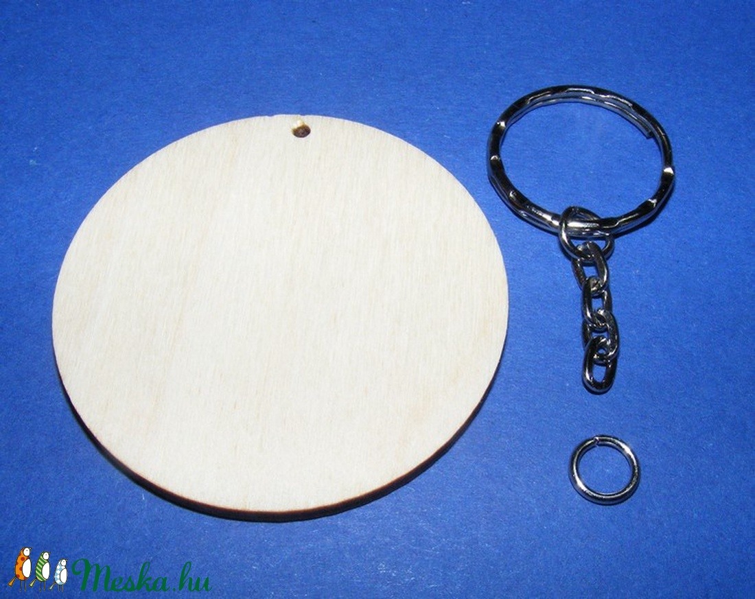 Fa kulcstartó-8 (� 55 mm/1 db) - kerek - fa - Meska.hu