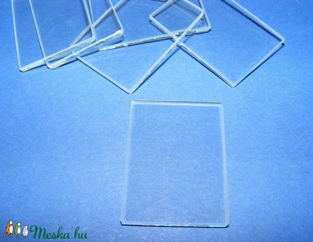 Üveglap-10 (35x25 mm/1 db) - téglalap - gyöngy, ékszerkellék - Meska.hu