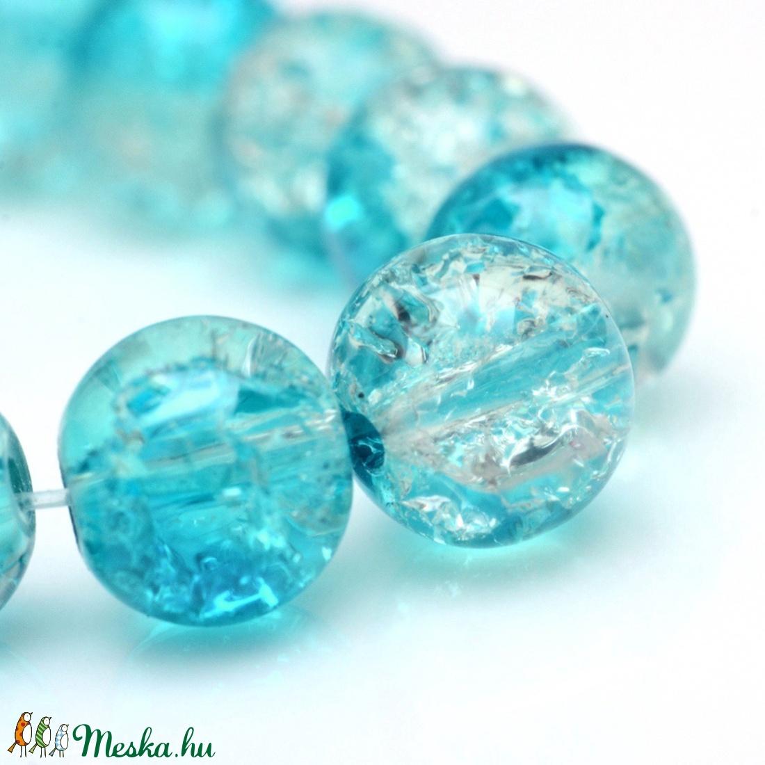 Robbantott üveggyöngy-9 (6 mm/1 csomag) - kék/fehér - gyöngy, ékszerkellék - Meska.hu