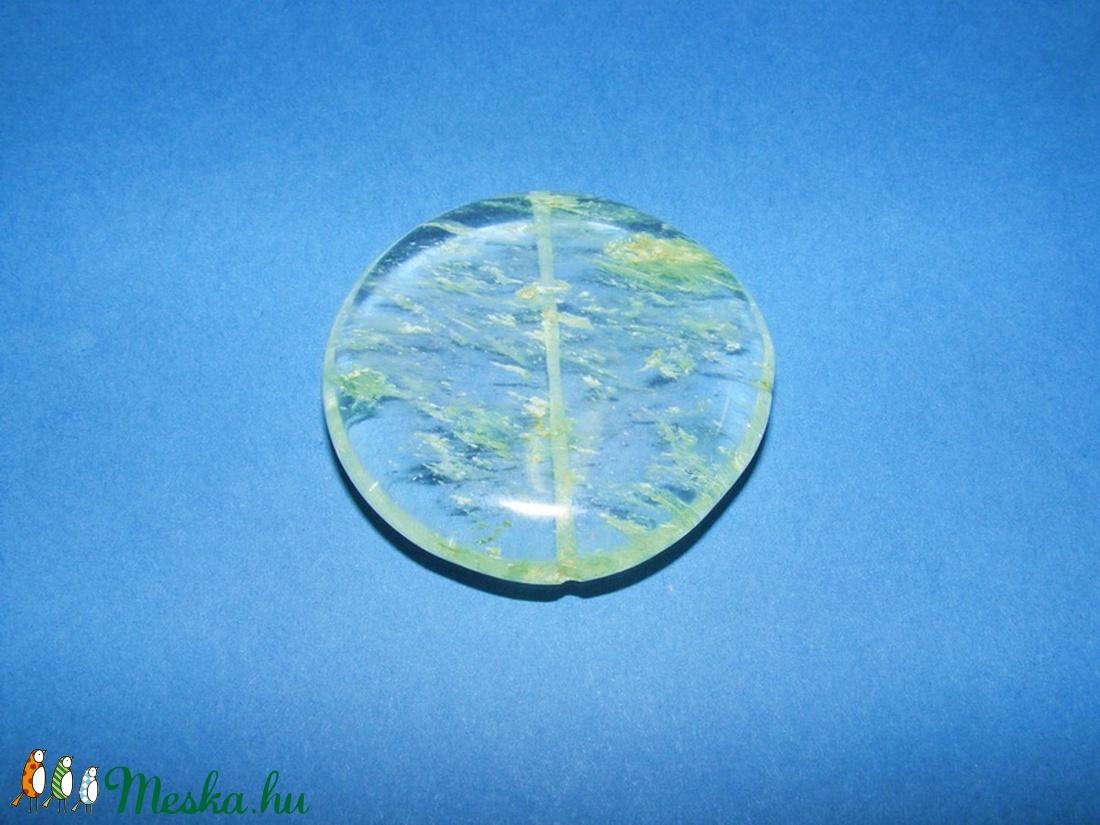 Ásványgyöngy-107 (� 40 mm/1 db) - átlátszó/halványzöld kerek - gyöngy, ékszerkellék - Meska.hu
