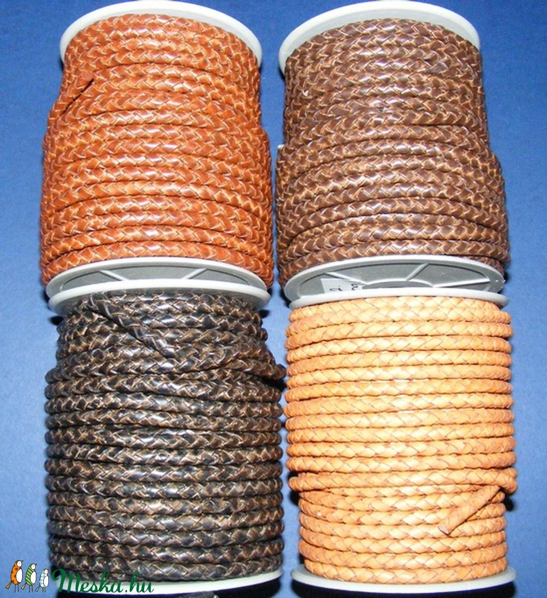 Fonott bőrszíj - 5 mm (7. minta/0,5 m) - natúr (antik) -  - Meska.hu
