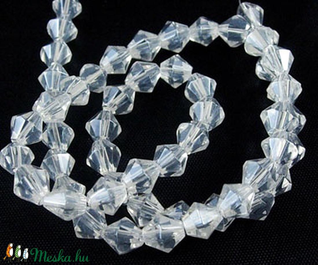 Csiszolt üveggyöngy-31 (10x8 mm/10 db) - színtelen gyémánt - gyöngy, ékszerkellék - Meska.hu