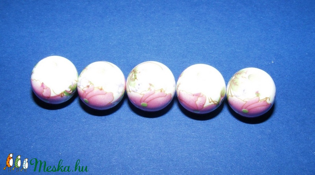 Porcelángyöngy-12 (� 12 mm/5 db) - gyöngy, ékszerkellék - Meska.hu