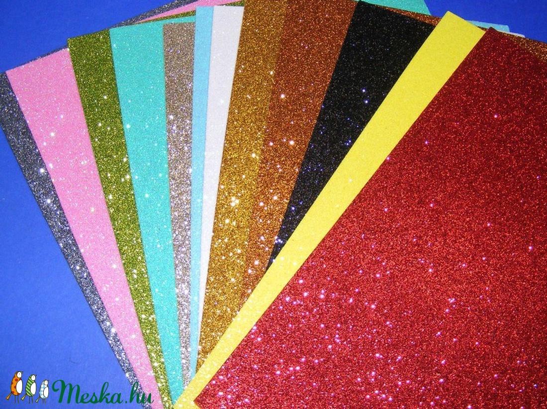 Glitteres dekorgumi (A/4 méret/1 db) - ezüst - vegyes alapanyag - Meska.hu