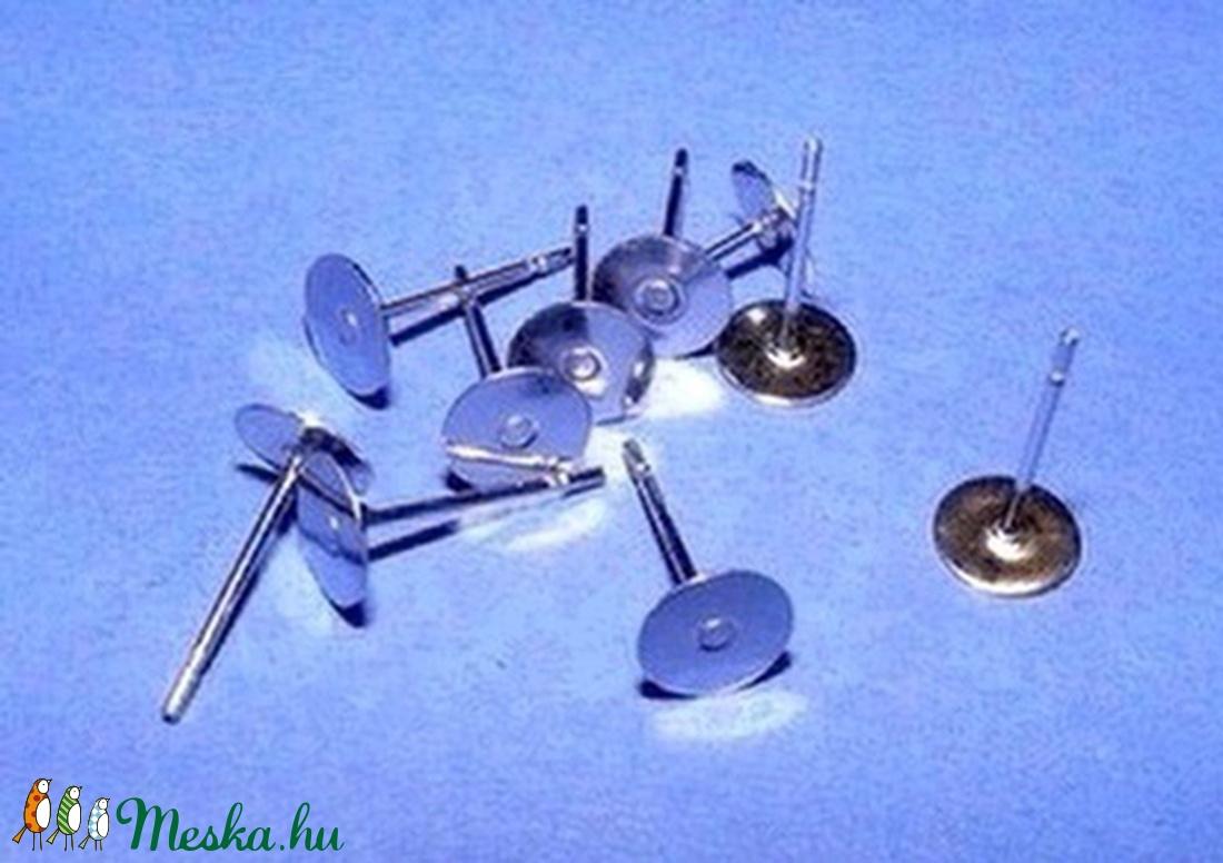 Nemesacél stiftes fülbevaló alap (STAS-21 minta/10 db) - 8x12 mm - gyöngy, ékszerkellék - Meska.hu