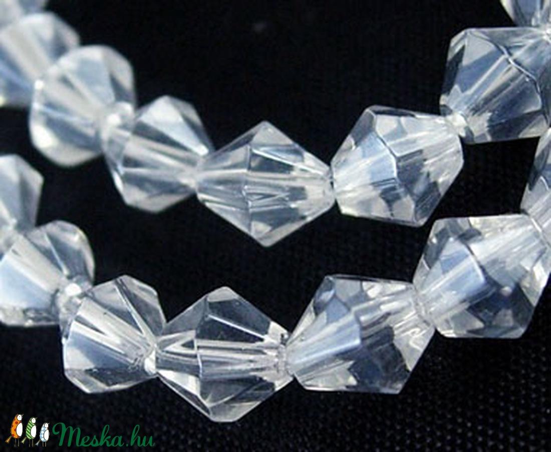 Csiszolt üveggyöngy-32 (6x6 mm/15 db) - színtelen gyémánt - gyöngy, ékszerkellék - Meska.hu