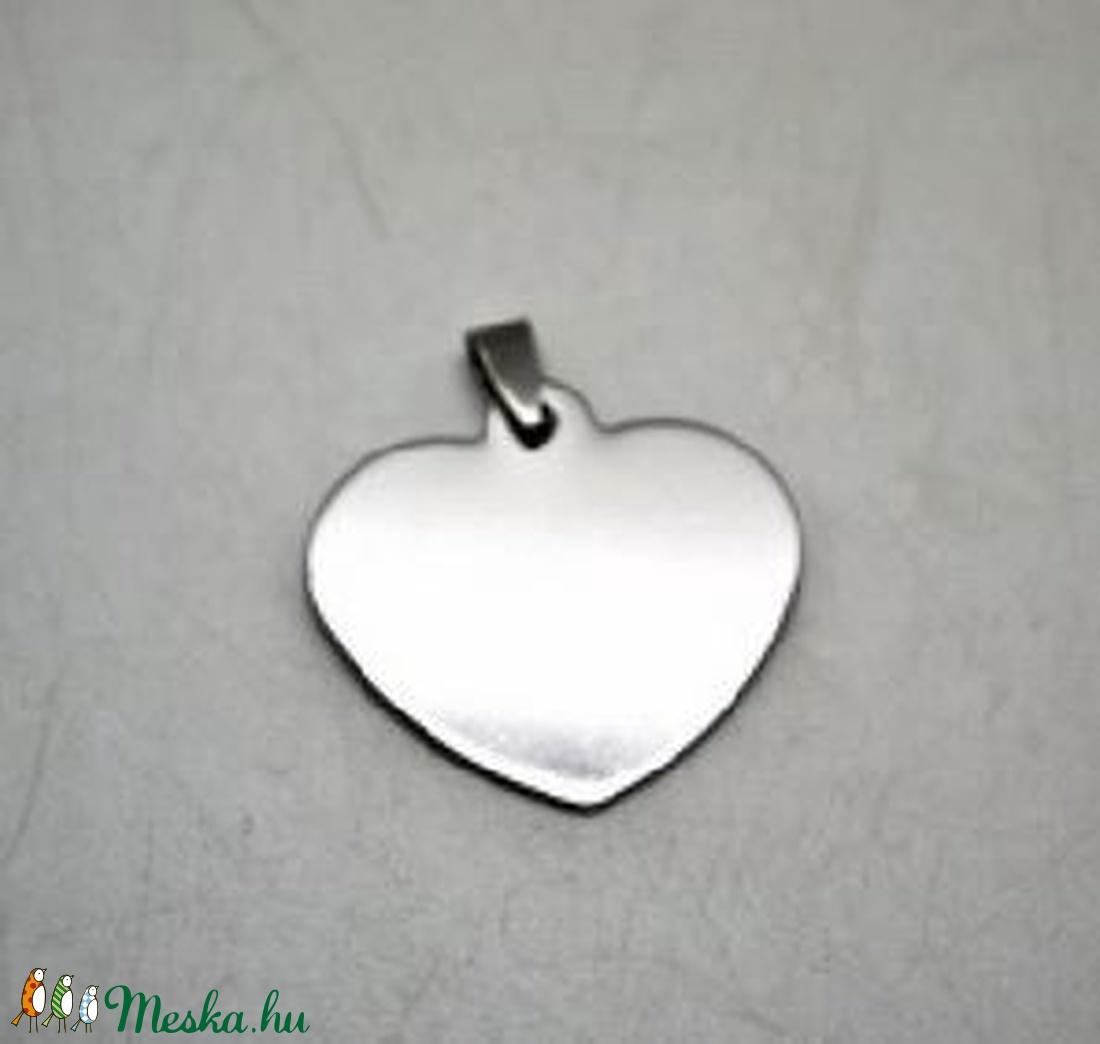 Nemesacél szív alakú medál (STAS-45 minta/1 db) - 33x34 mm - gyöngy, ékszerkellék - Meska.hu