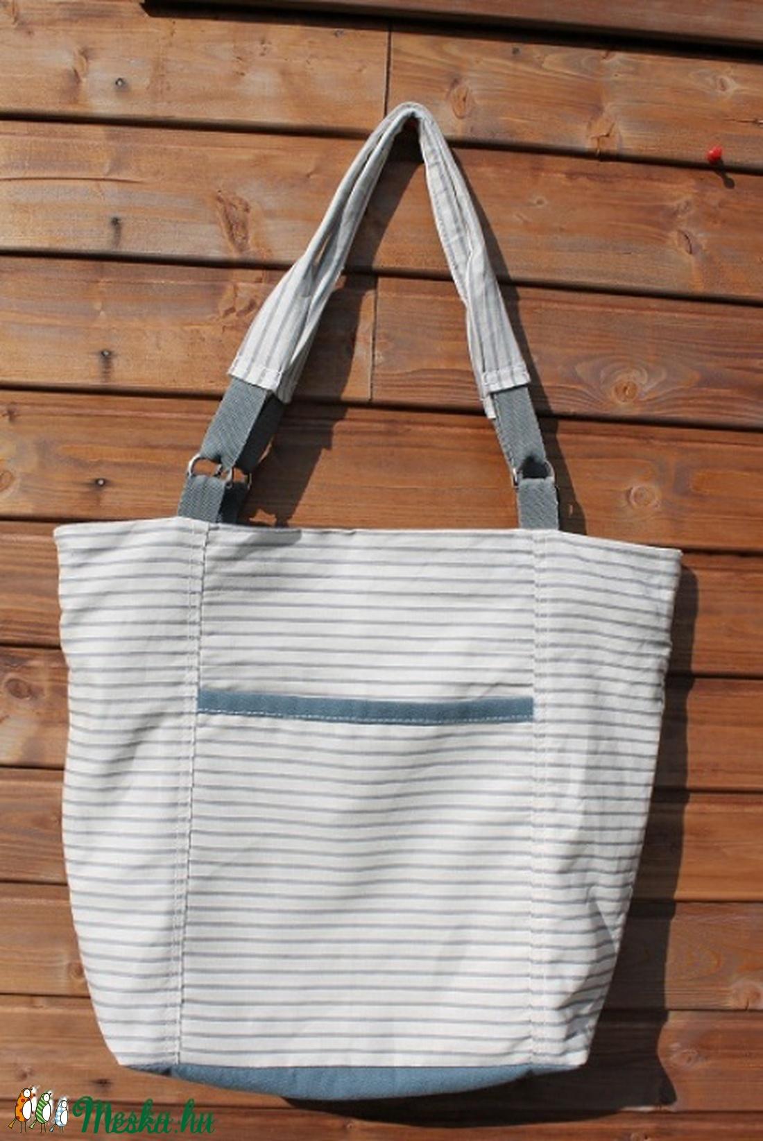 Táska Vászon fehér kék csíkos nagyméretű táska (BYildi) - Meska.hu 51372d5737