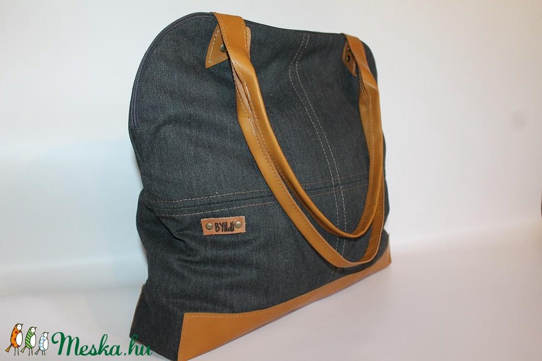 Táska vászon és bőr táska egyedi női táska (BYildi) Meska.hu