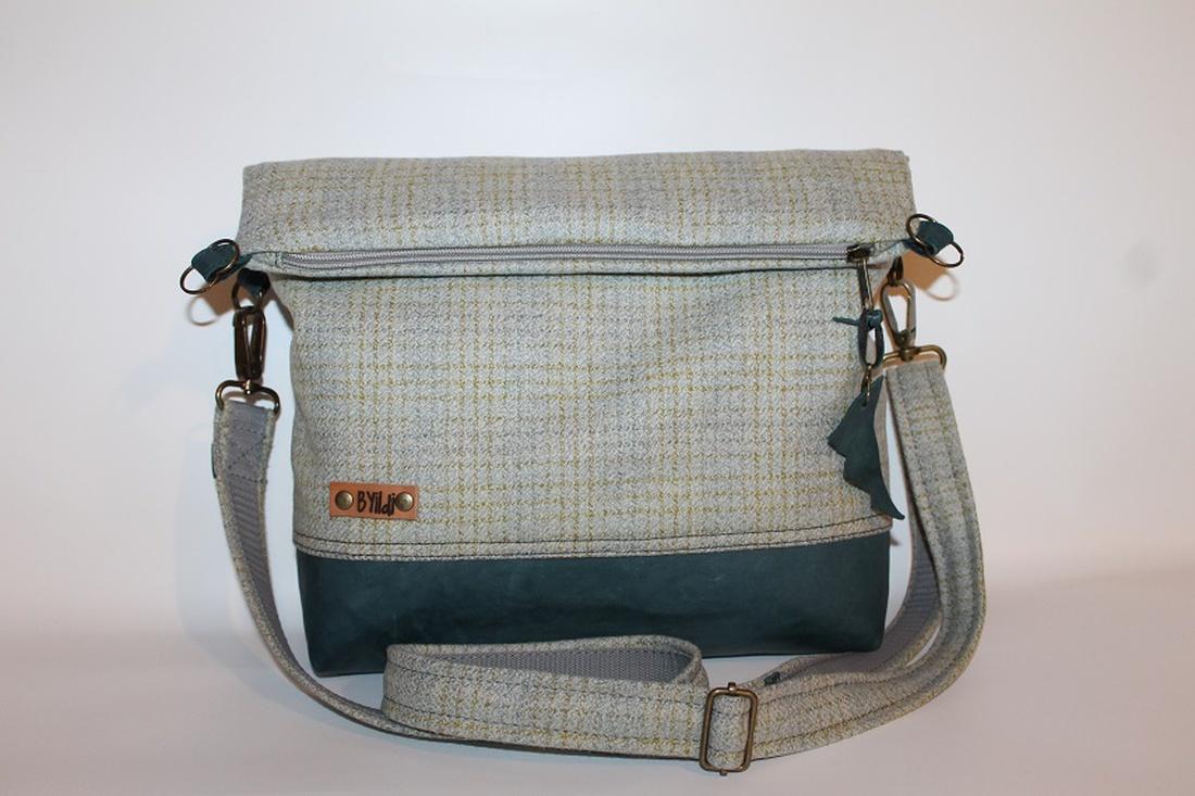 Táska Válltáska ipad táska zöld szürke gyapjúszövet és bőr táska (BYildi) -  Meska.hu d1461ee638