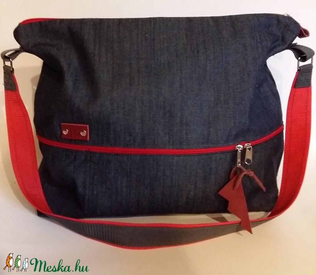 Farmer táska nagyméretű táska ajándék nőknek farmertáska piros  kiegészítőkkel (BYildi) - Meska.hu ... 837f09b610